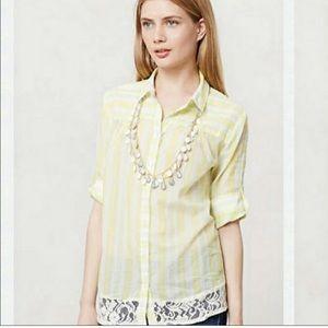 Edme & Esyllte Sunlit Stripes yellow top lace hem